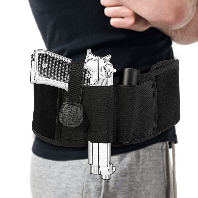Tactical Concealed Pistol Holster Right-hand Belly Band Gun Carry Case Invisible Elastic Waist Bag Girdle Belt Military Combat mini kompas sleutelhanger