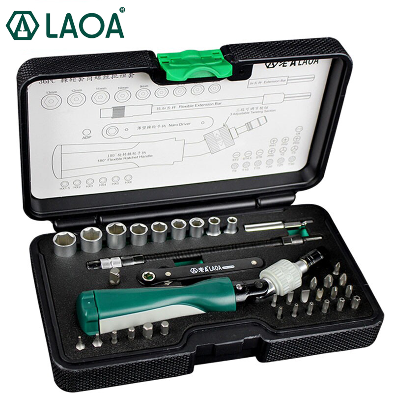 LAOA 36pcs Ratchet Screwdriver Sets S2 Bit Hex Slotted Phillips Y-shaped Pentacle Torx Bits Hand Tools pdr Kit Outillage dv218 key shaped phillips screwdriver slotted screwdriver set silver 2pcs