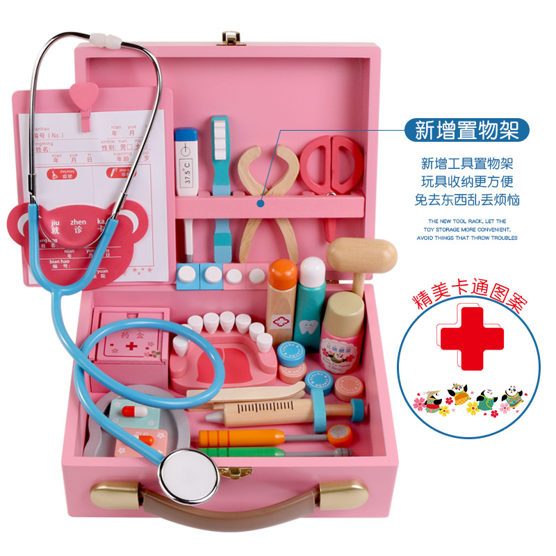 Wooden Kids Funny Toys Doctor Play Sets Simulation Medicine Box Pretent Doctor Toys Stethoscope Injections Children Gifts