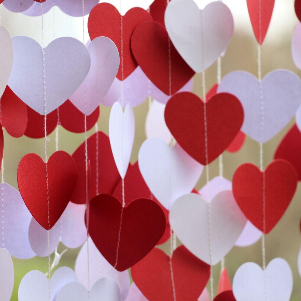 5 Częścipartia Dekoracje ślubne Czerwony Biały Heart Garland
