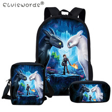 ELVISWORDS 3pc/set Cartoon Dragon Print School 3D Book Backpack Boys and Girls Schoolbags  Primary Students Mochila Satchel