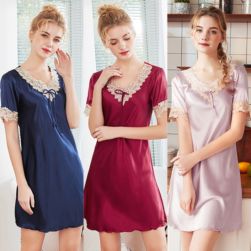 2019 New Sweet Young Women Silk   Nightgown   Printed Fashion Knee-length Girl Sleepwear Summer Ladies   Sleepshirts   Pink,Camel,Blue