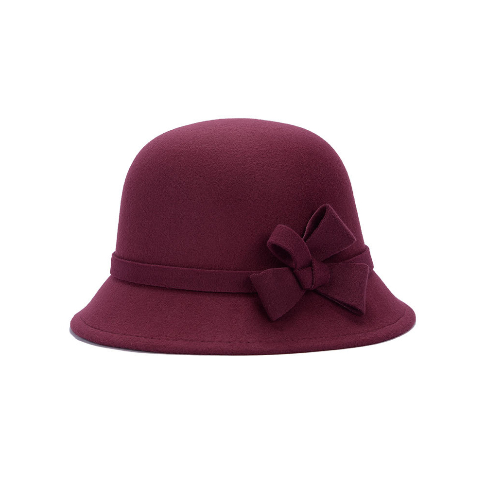 Шляпа-котелок Винтаж Повседневное вечерние Шапки аксессуары Floppy Hat - Цвет: wine red
