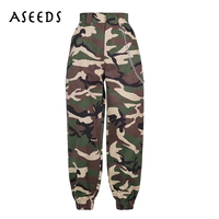 2018 Fashion Chain Military Camouflage Pants Women Army Black High Waist Loose Camo Pants Trousers Street