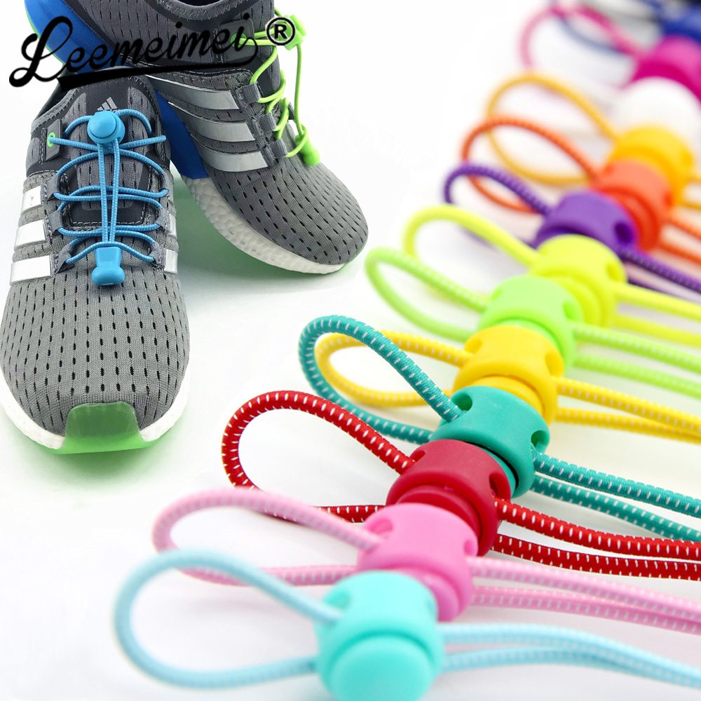 Stretchsluiting kant 23 kleuren een paar Locking Shoe Laces Elastische Sneaker Schoenveters Shoestrings Running / Jogging / Triathlon