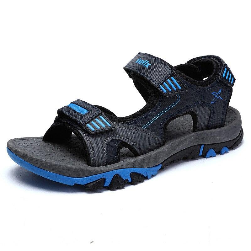 Подросток мальчик пляжная обувь Разделение кожа парусина Для мужчин летние сандалии Модные дышащие Для мужчин обувь Мягкий Открытый спорт... ...
