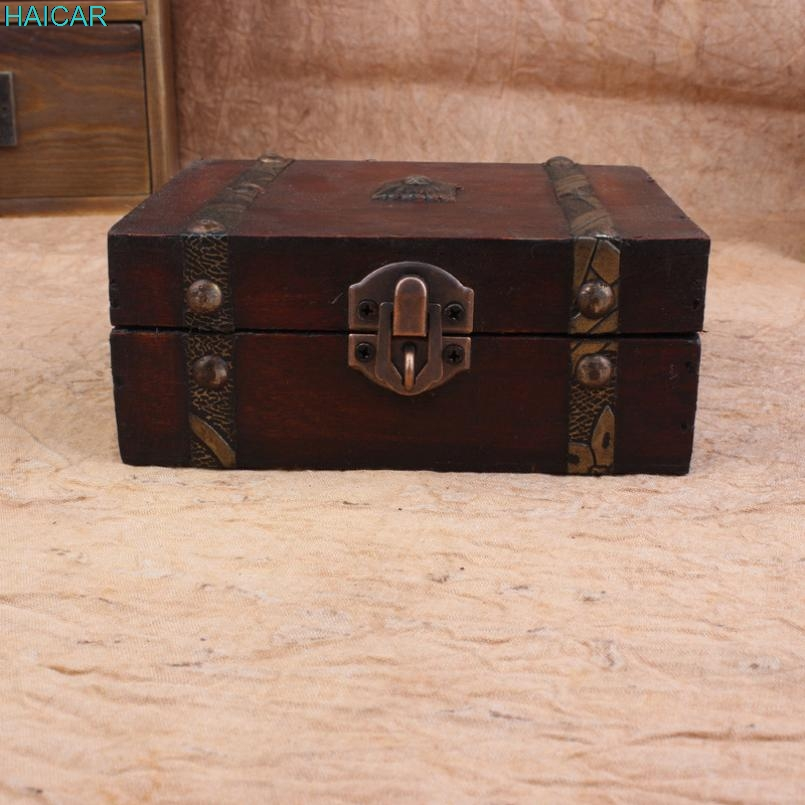 Classic Wooden Jewelry Storage Box Decorative Trinket Handmade Vintage Treasure Case Levert Dropship mar14