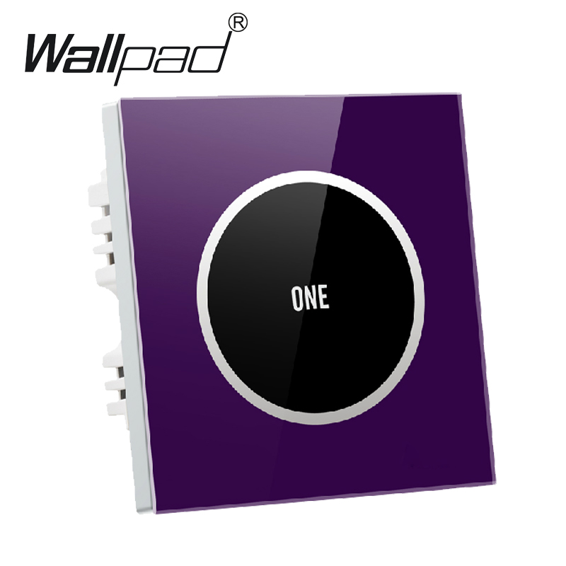 Hign-End Purple 1 gang 2 way Glass Panel Touch Light Switch Free Design Waterproof 110V~250V wall touch switch,Free Shipping free shipping new fashion carving patterns design electric wall light switch 1 gang 1 way from manufacturer supplier 100 250v m