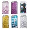 Amor do coração estrelas estrelas do glitter líquido dinâmico areia movediça telefone pc back cover case para iphone 5s 5c 6 6 plus