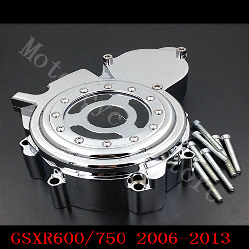 For Suzuki GSXR600 GSXR750 GSXR 600 750 2006 2007 2008 2009 2010-2013 Engine Stator cover see through Chrome left side K6 K8 K11 aftermarket free shipping motorcycle part engine stator cover for suzuki gsxr600 750 2006 2007 2008 2009 2013 black left side