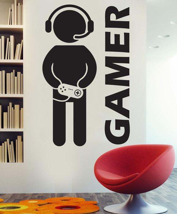 Decalque da parede Gaming Joystick Joypad Video Game Gamer Vinil Decalque Removível Home Decor pinturas murais D044