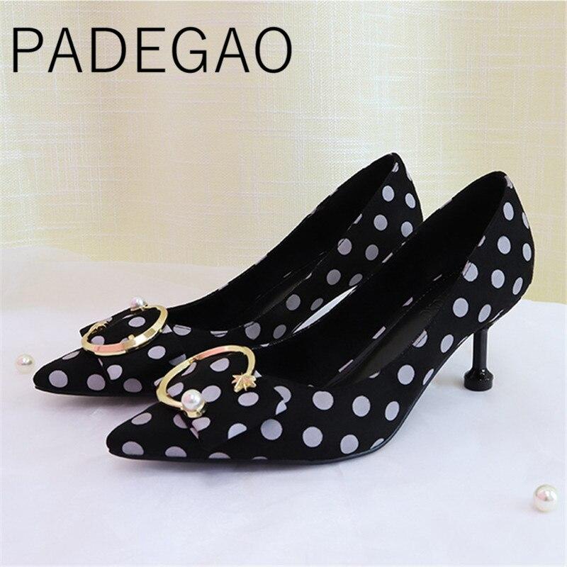 Ladies Shoes Women Luxury Pumps Pointed-Toe High-Heels Kitten Elegant Fashion Dot 6cm-C-Button