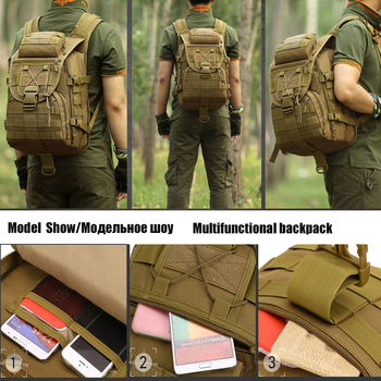 Hot Molle Tactical Backpack Military Backpack Nylon Waterproof Army Rucksack Outdoor Sports Camping Hiking Fishing Hunting Bag 6