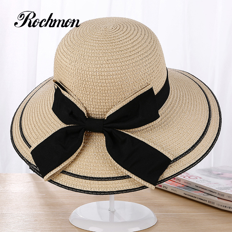be1caf2f7b0 ROCHMON 2017 Summer Women Straw Hats Large Wide Beach Hats Elegant Bow Decoration  Female Sun Visor Anti UV Sunscreen Cap RM067-in Sun Hats from Apparel ...