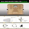 Inteligente DUAL BAND 2G/3G + 4G Reforço de sinal de telefone Celular 850/AWS1700/2100 mhz móvel repetidor de sinal de celular amplificador de sinal kit