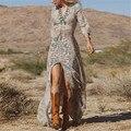 Mulheres Vestidos verão 2016 Boho praia Vestidos de festa v-neck Floral impressão Maxi divisão de festa Plus Size S-3XL