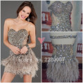 Lovely Sweetheart Short Crystals Heavy Beaded Homecoming Dresses See Through Fabric Feather Skirt Sexy Short Cocktail Dresses