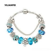 YILIANFEI Silver plating turtle Fashion Cute Charm Bracelets & Bangles with Blue Chamilia Beads For Women BT0160