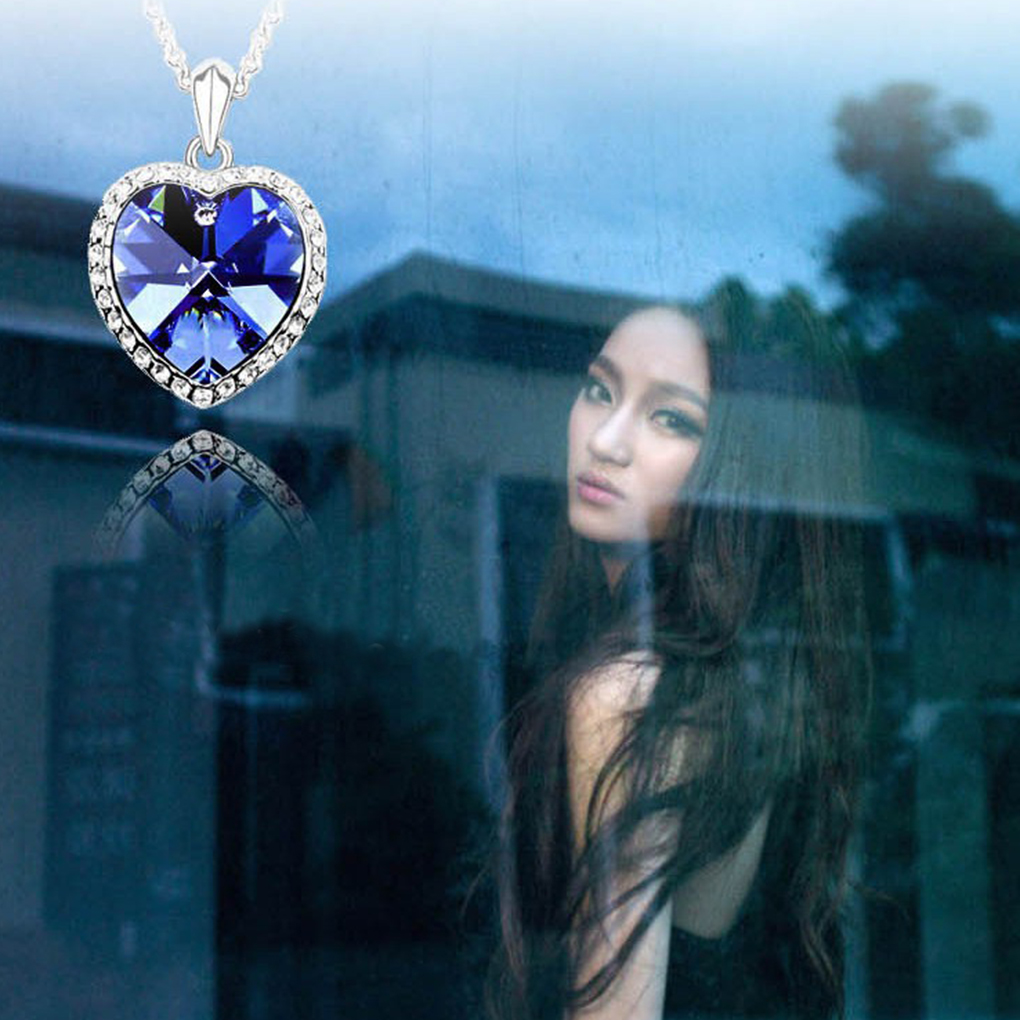 Lovely BGVfive Blue Silver Heart Drop Pendant Crystal Necklace Jewel Beads Alloy Necklace For Women Girls