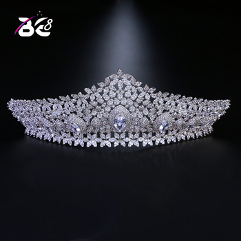 Be 8 Luxury Large AAA Cubic Zircon Wedding Pageant Headband Tiaras and Crown Women Hair Accessories for Bridal Gifts H050