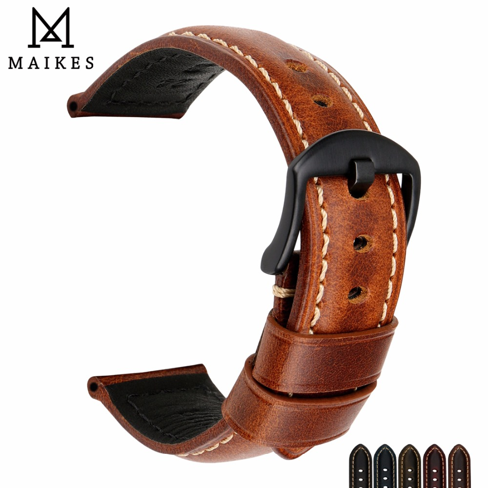 MAIKES Watch Bands 20mm 22mm <font><b>24mm</b></font> 26mm Vintage Oil Wax Leather Watch <font><b>Strap</b></font> Watch Accessories Watchband For Panerai <font><b>Breitling</b></font> image
