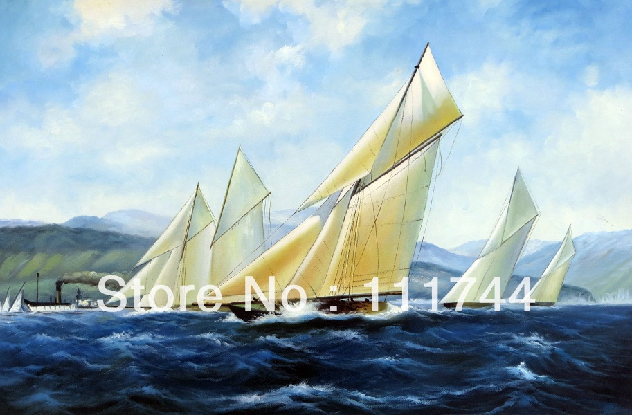 Canvas Art for sale landscape oil paintings Horizontal hand painted oil on canvas seascape painting canvas sailing boat G1104 ...