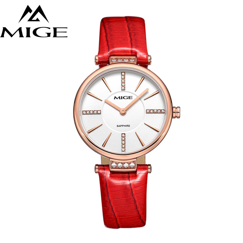 MIGE Women Watches Fashion Luxury Quartz-watch Women's Wristwatch Clock Relojes Mujer Ladies Watch Leather Strap Montre Femme tezer ladies fashion quartz watch women leather casual dress watches rose gold crystal relojes mujer montre femme ab2004