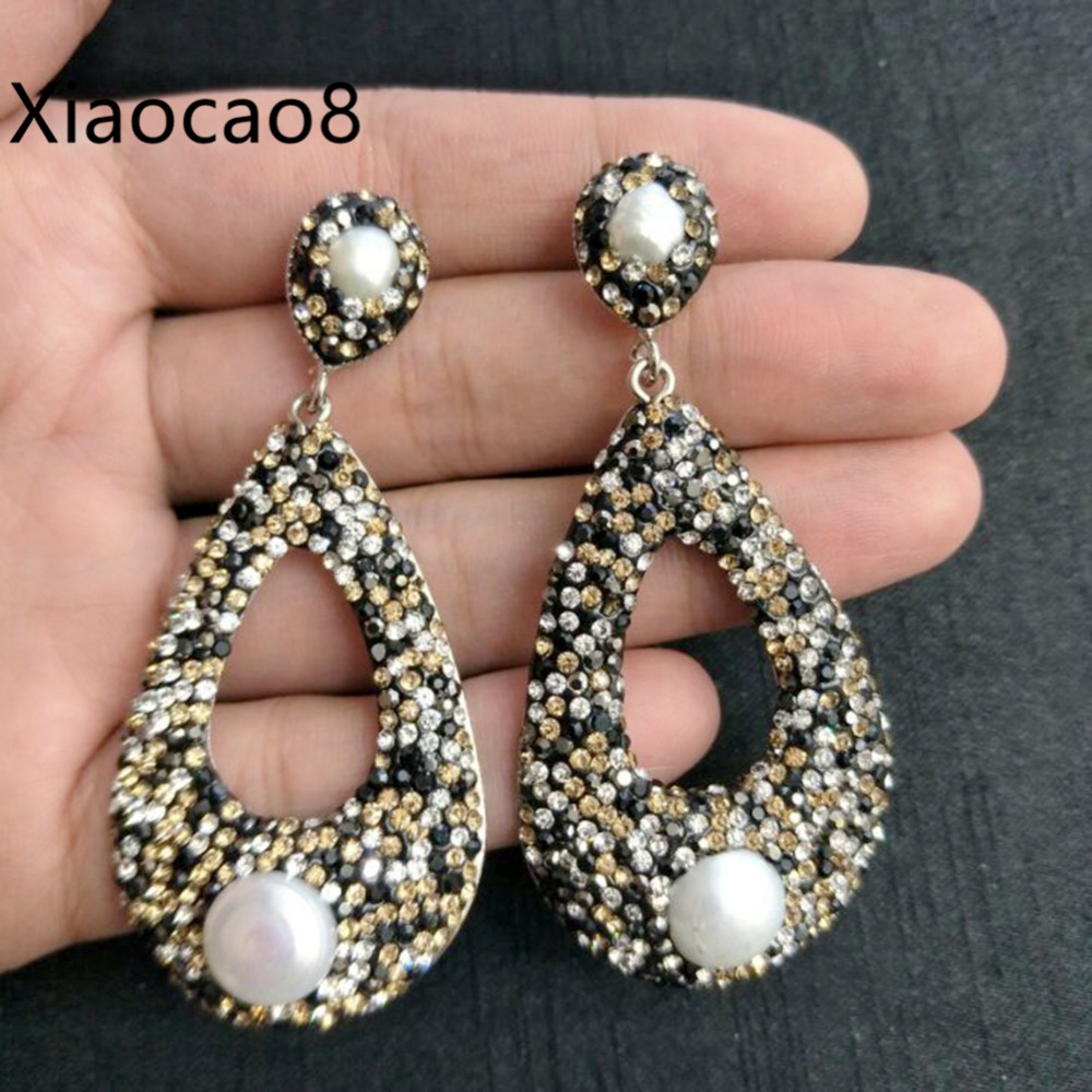 Gold Black Rhinestone Water Drop Earrings with Nature Pearl Fashion Women Long Earrings High Quality Costume Jewelery Earrings