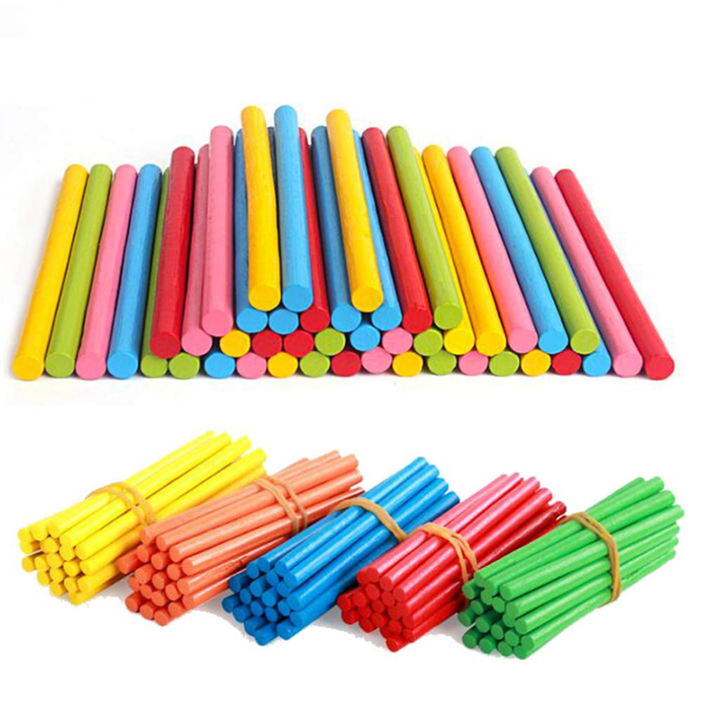 100pcs Bamboo Color Counting Sticks Montessori Teaching Aids Mathematics Counting Rod Kids Preschool Math Learning Toy For Child