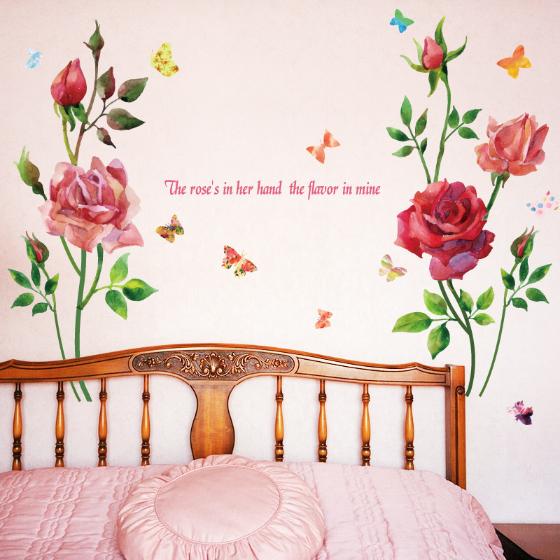US $4.92 40% OFF|3D New Rose Poney Flower Sticker Wall Decals For Kid Room  Bedroom Living Room Decorative Stickers PVC Wall Stickers Girls Room-in ...