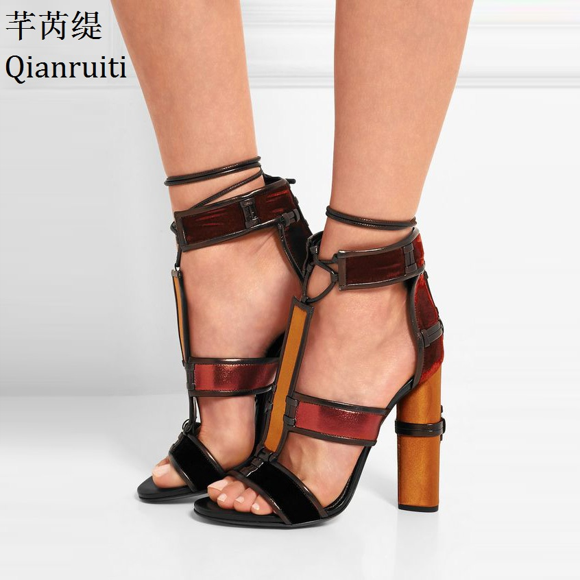 Qianruiti Cut-Outs Patchwork High Heels Rome Gladiator Sandals Open Toe Ankle Strap Women Pumps Lace-Up Block Heels Women Shoes fashion summer lace up women sandels cut outs open toe low wedges bohemian beach shoes white black ankle strap shoes for women