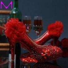 Envío gratis blanco y rojo de la flor zapatos de vestir de boda señora Party Rhinestone del alto talón de novia vestido de los zapatos