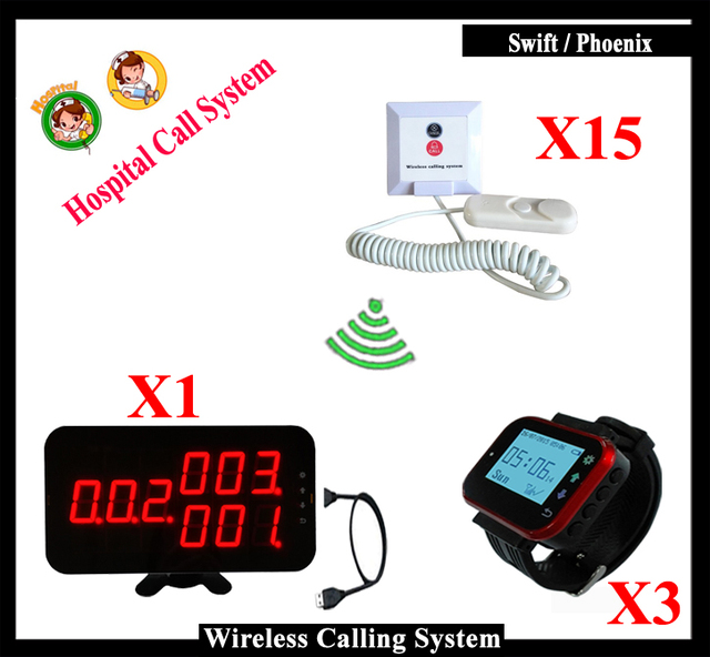 Smart Clinical Nurse Call System For Medical Emergency Service Call 1pcs K-4-C-USB 3 Watch 15pcs Nurse Calling Button
