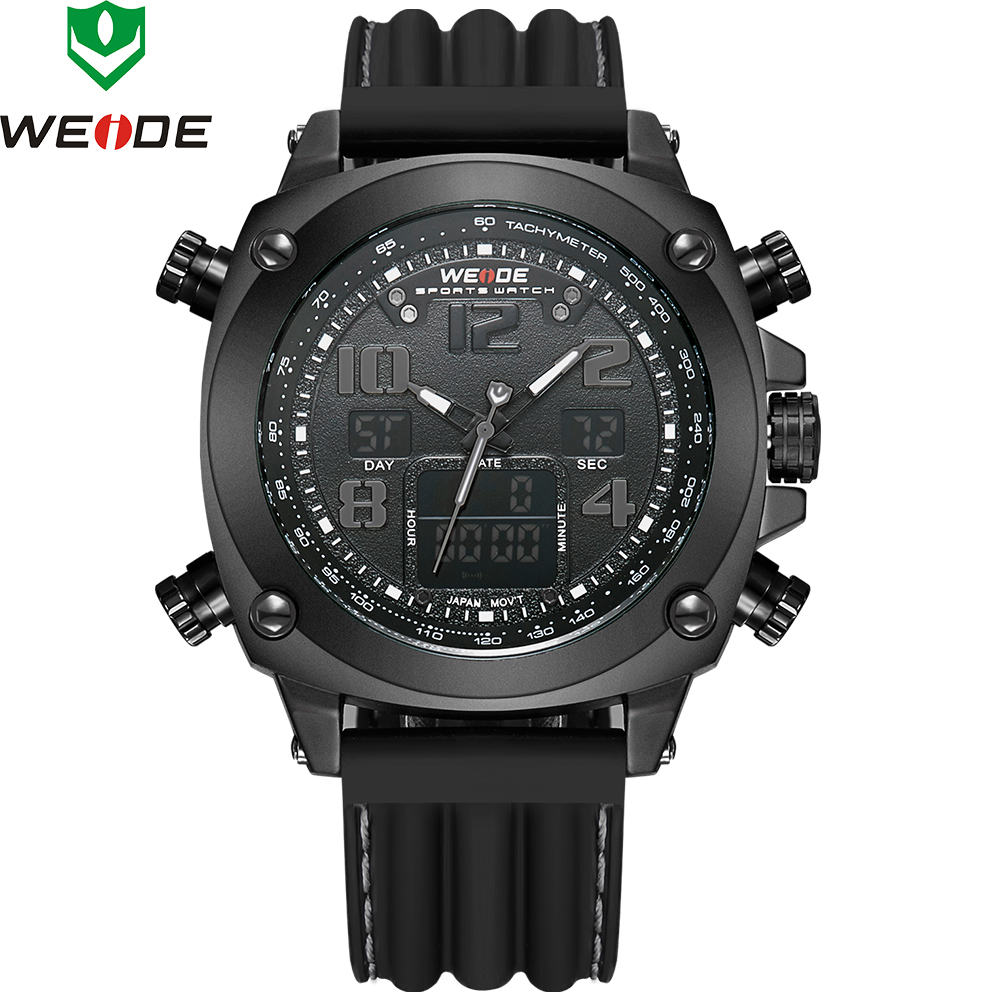 Luxury Brand WEIDE Sports Military Watches Multifunctional Japan Quartz LED Digital Movement Waterproofed Watch Men Wrist watch weide original brand sports military watch men fashion quartz wrist watch pu band 30m waterproof multifunctional sale items