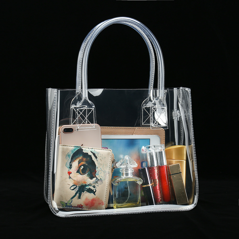 Thick Clear PVC Cosmetic Tote Toiletry Promotional Shopping Bag Available For Custom