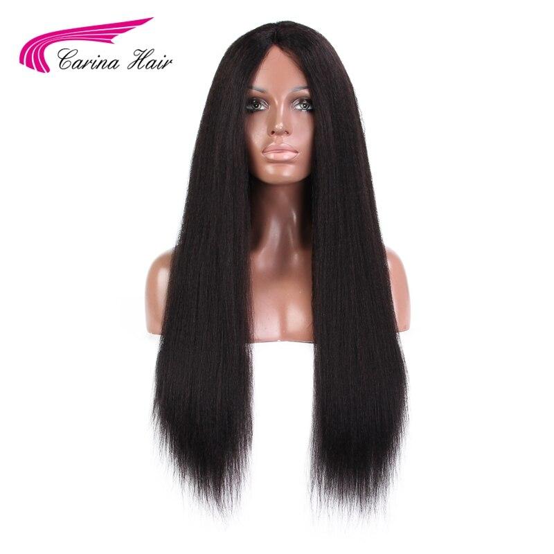Carina Kinky Prosto Bezklejowy Koronki Przodu Peruk Brazylijski Ludzki Włos Koronki Peruki 1*3 Rozmiar Koronki Część Non-Remy Włosy