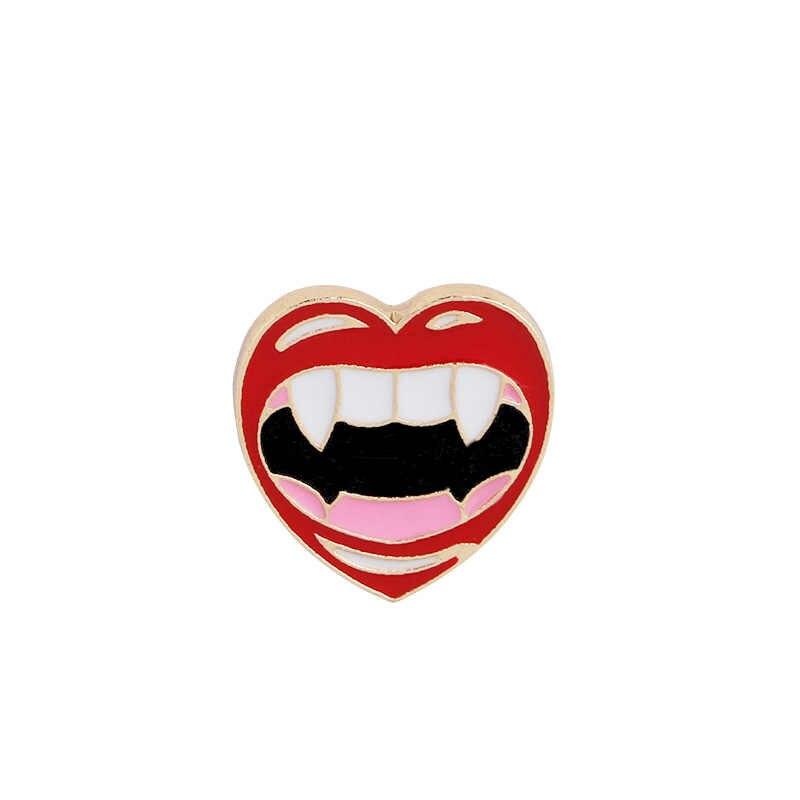 12 stile delle signore Dello Smalto spilla omg punto esclamativo rosso labbra rosso vino partita di coppa amore spilla collare cappello distintivo pin gioielli da uomo