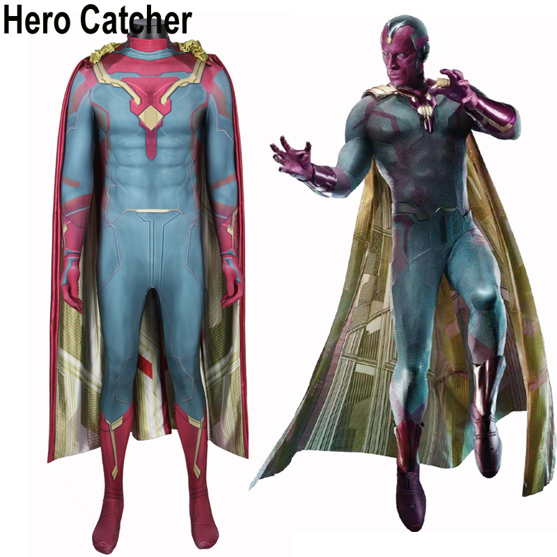Hero Catcher Vision Cosplay Costume Civil War Vision Costume Avengers Vision Suit For Halloween Custom Made Hero Vision Spandex