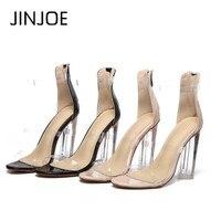 JINJOE Latest hot sale shoes Woman High heels in summer Transparent Black single shoe sexy Open toe Apricot Hasp 12cm shoes
