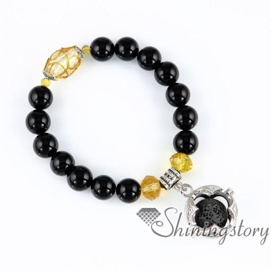 cfe0f061e6d922 Boule fleur ajouré perles bracelets bracelets de charme flacon en verre  pendentif parfum médaillon aroma bijoux pierre semi - précieuse métal
