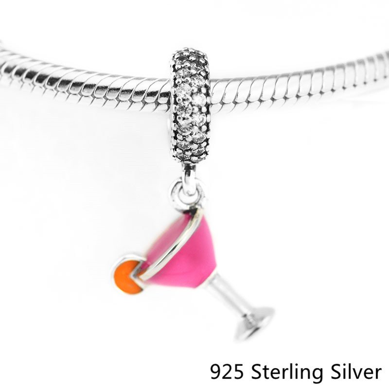 925 Sterling-Silver-Jewelry Fruity Cocktail, Mixed Enamel & Clear CZ Dangle Fits Bracelet Beads for Women Jewelry Making Gift