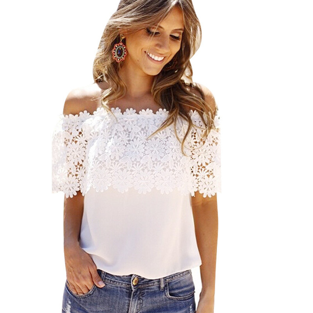2016 Hot Sale Summer Sexy Women Solid Off The Shoulder Lace Chiffon Tops New Fashionable Breathable Tops&Tees Polo Shirts WT164