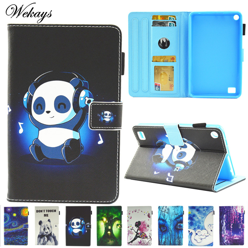 Wekays Cover For Amazon HD7 2015 2017 Cartoon Panda Leather Fundas Case For Amazon Kindle Fire HD 7 2015 2017 Tablet Cover Cases