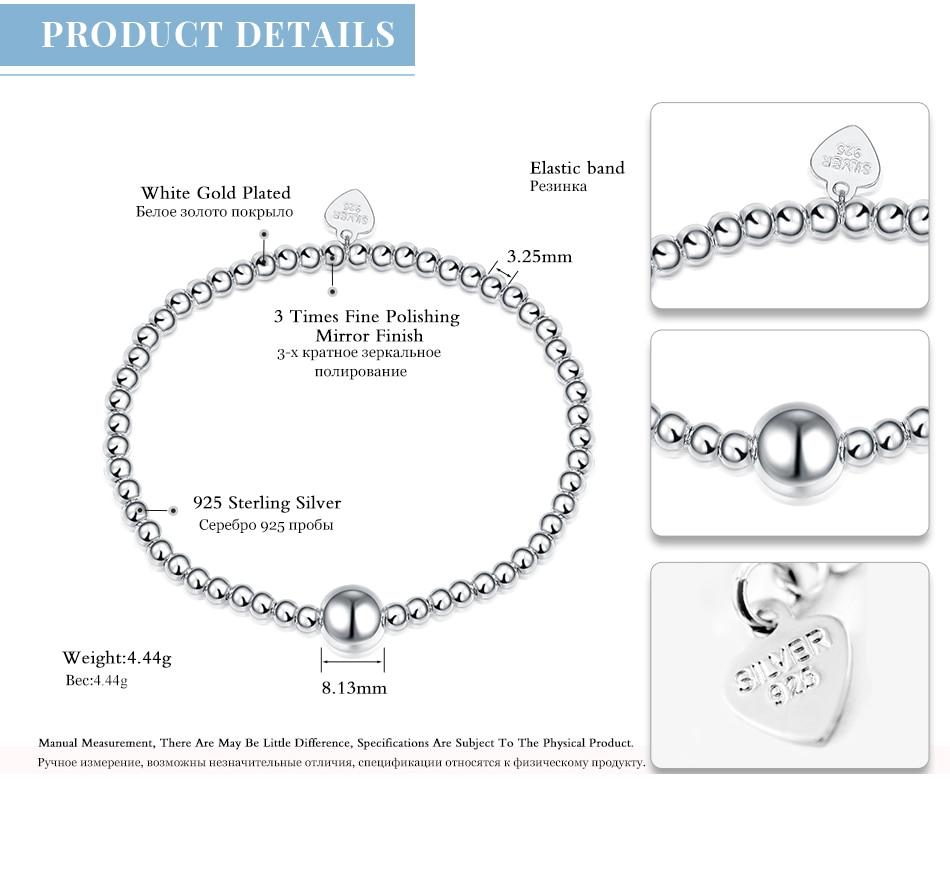 HTB1znBQaO 1gK0jSZFqq6ApaXXaG LicLiz 2019 925 Sterling Silver Adjustable Strand Bracelet for Women Round Ball Charms Beaded Chain Elastic Heart Jewelry LB0081