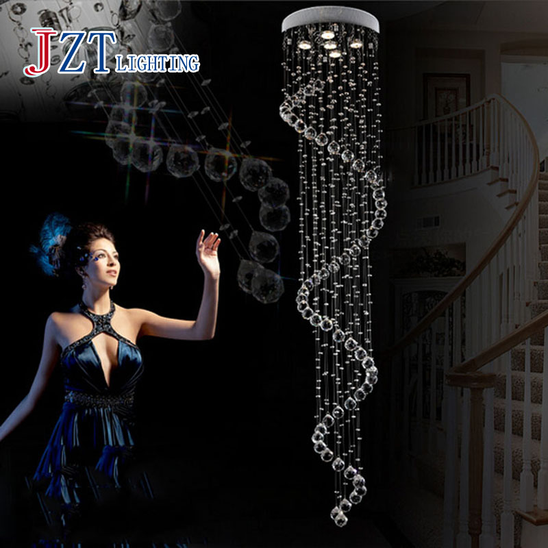 Z best price  Luxury Lustre Ceiling Lamp Luster Duplex Spiral Stairs K9 Crystal Ceiling Chandelier with LED Bulb GU10 free ship best price modern led spherical k9 crystal lamp duplex stairs luxury villa round ball crystal pendant lights project lights
