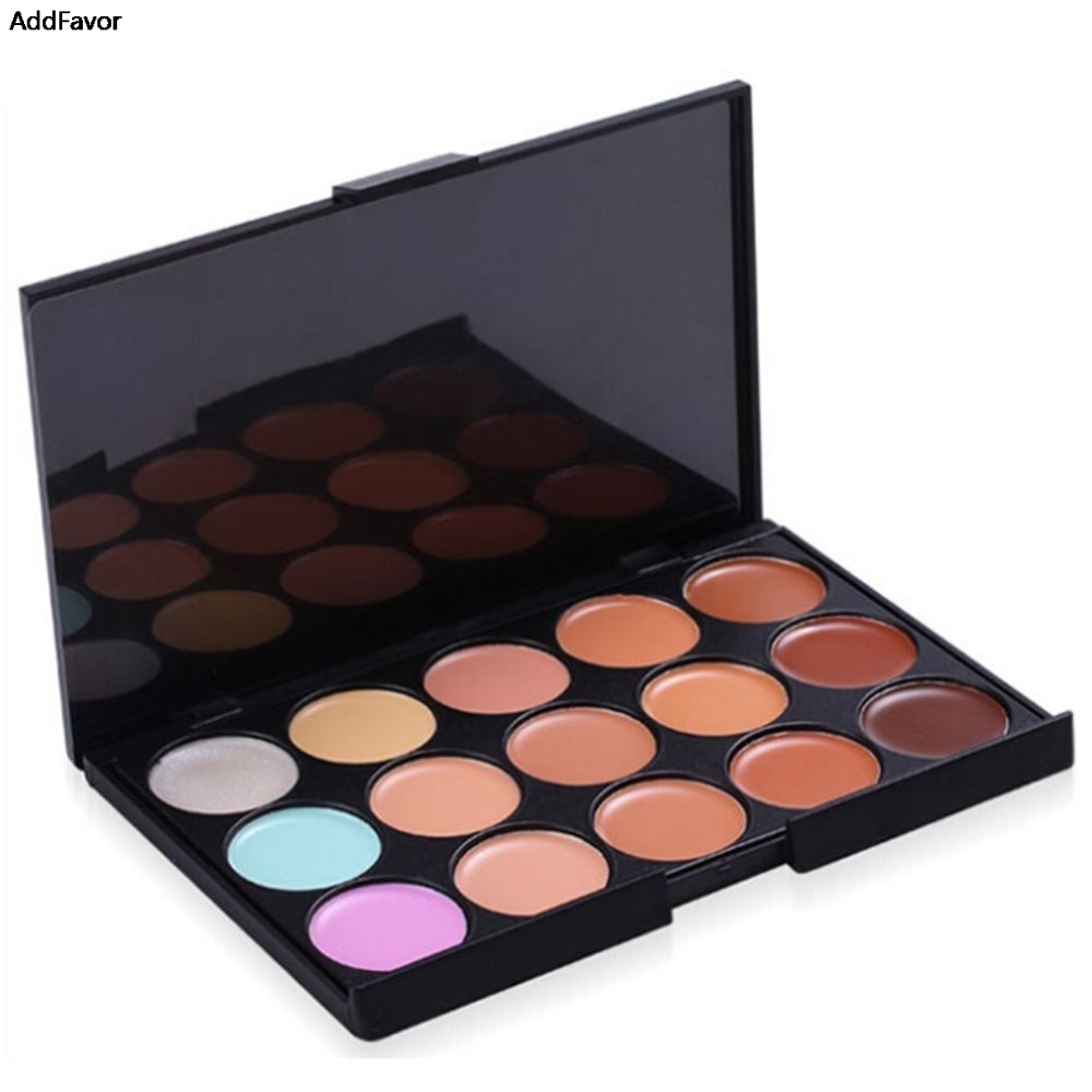 addfavor 15 colors professional concealer palette foundation makeup palettes cosmetic camouflage. Black Bedroom Furniture Sets. Home Design Ideas