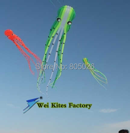 Free shipping high quality 15m Soft  Octopus Kites with handle line wei kite fashion kite flying kite outdoor toys rainbow 2 5m huge dual line control soft frameless stunt parafoil flying kite plaid cloth made with 2 line board and 2 x 40m line