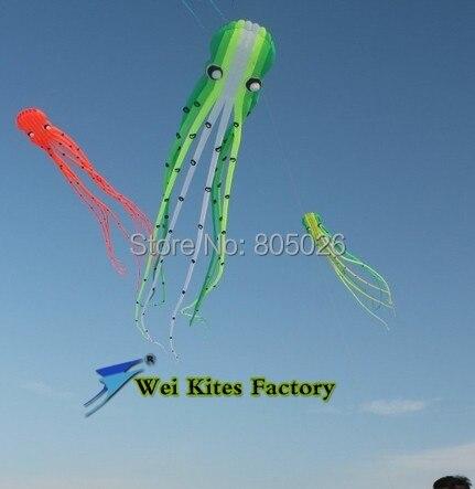 Livraison gratuite haute qualité 15 m pieuvre doux cerfs-volants avec poignée ligne wei cerf-volant mode cerf-volant volant cerf-volant jouets de plein air arc-en-ciel