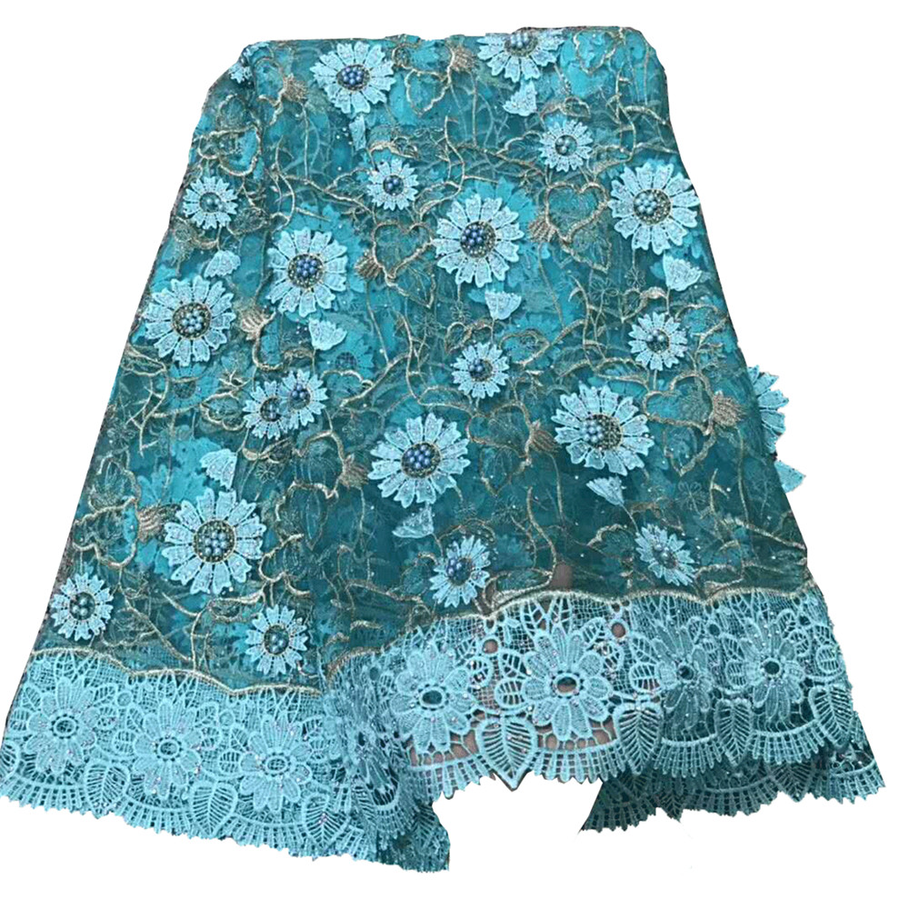 Aqua Party Dress Fashion Nigeria French Tulle Beaded 3d Flower Bridal African Lace Fabric X477-1Aqua Party Dress Fashion Nigeria French Tulle Beaded 3d Flower Bridal African Lace Fabric X477-1