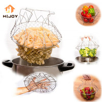 Frying Chef Basket Stainless Steel Foldable Deep Flexible Strainer Net